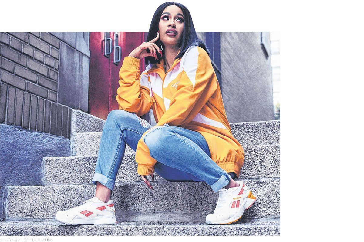 Rapper Cardi B wears Reebok's latest Aztrek shoes, which were originally launched in 1993.
