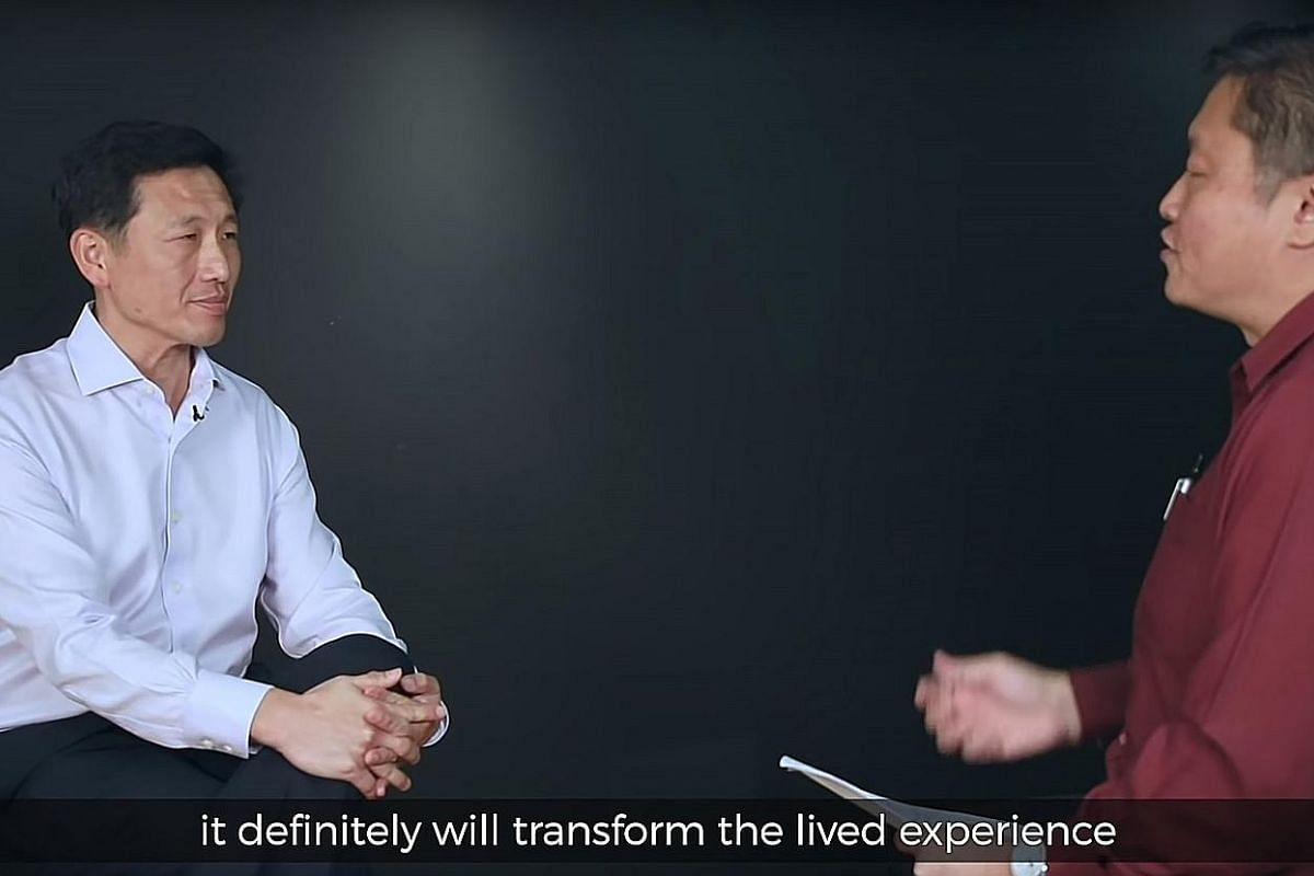 """Education Minister Ong Ye Kung doing a """"fireside chat"""" video with his ministry's divisional director of communications Clarence Chang, on the shift from streaming to full subject-based banding. PHOTO: MINISTRY OF EDUCATION/ YOUTUBE Ah Lian played by"""