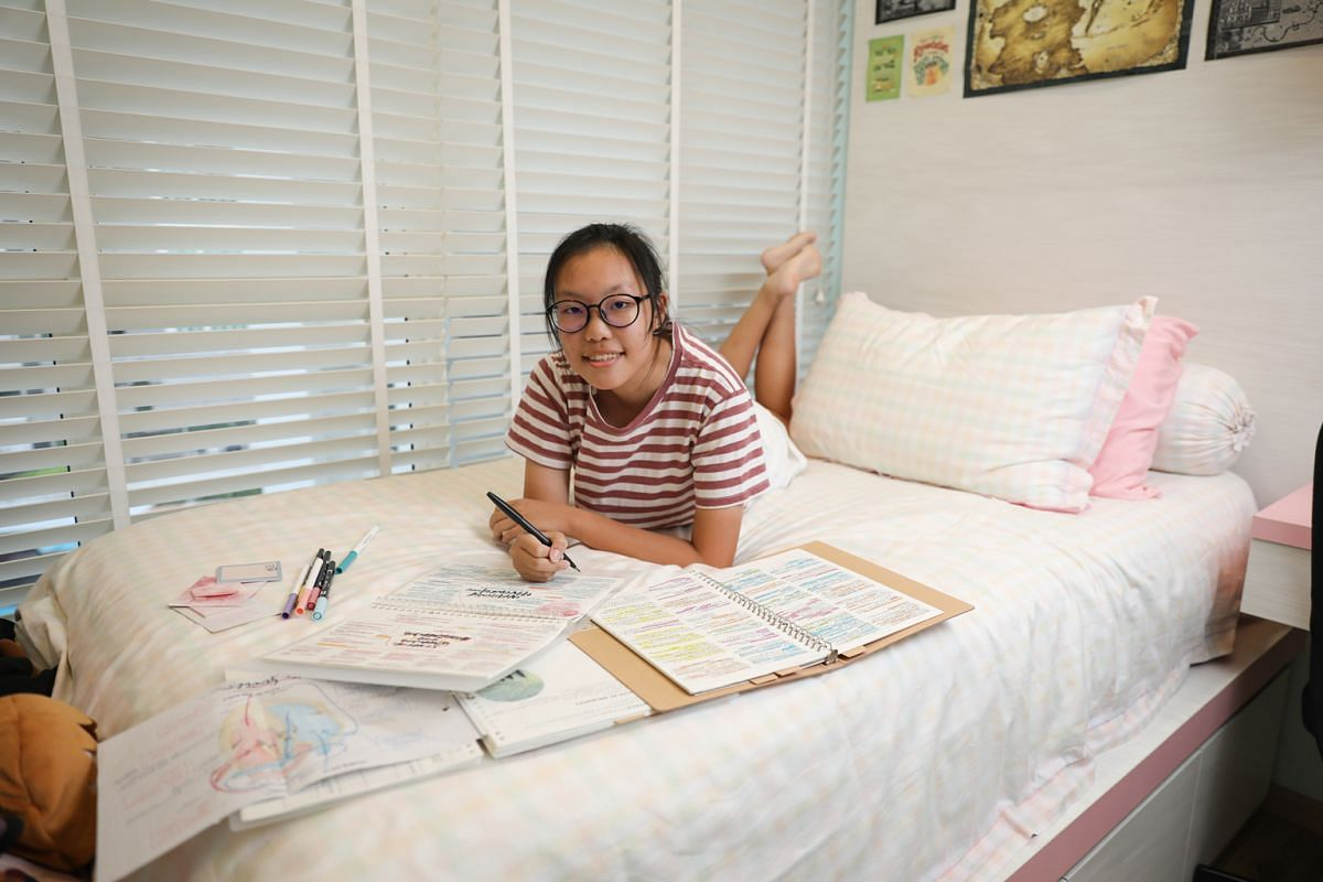 Felicia Tan with a sample of her notes, and Clarice Tan (above), both 16, have gained a large social media following through their studygrams.