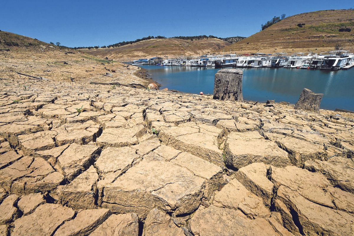 Dried mud and the remnants of a marina seen at the New Melones Lake reservoir, which was at less than 20 per cent capacity, in 2015 as a severe drought affected California.