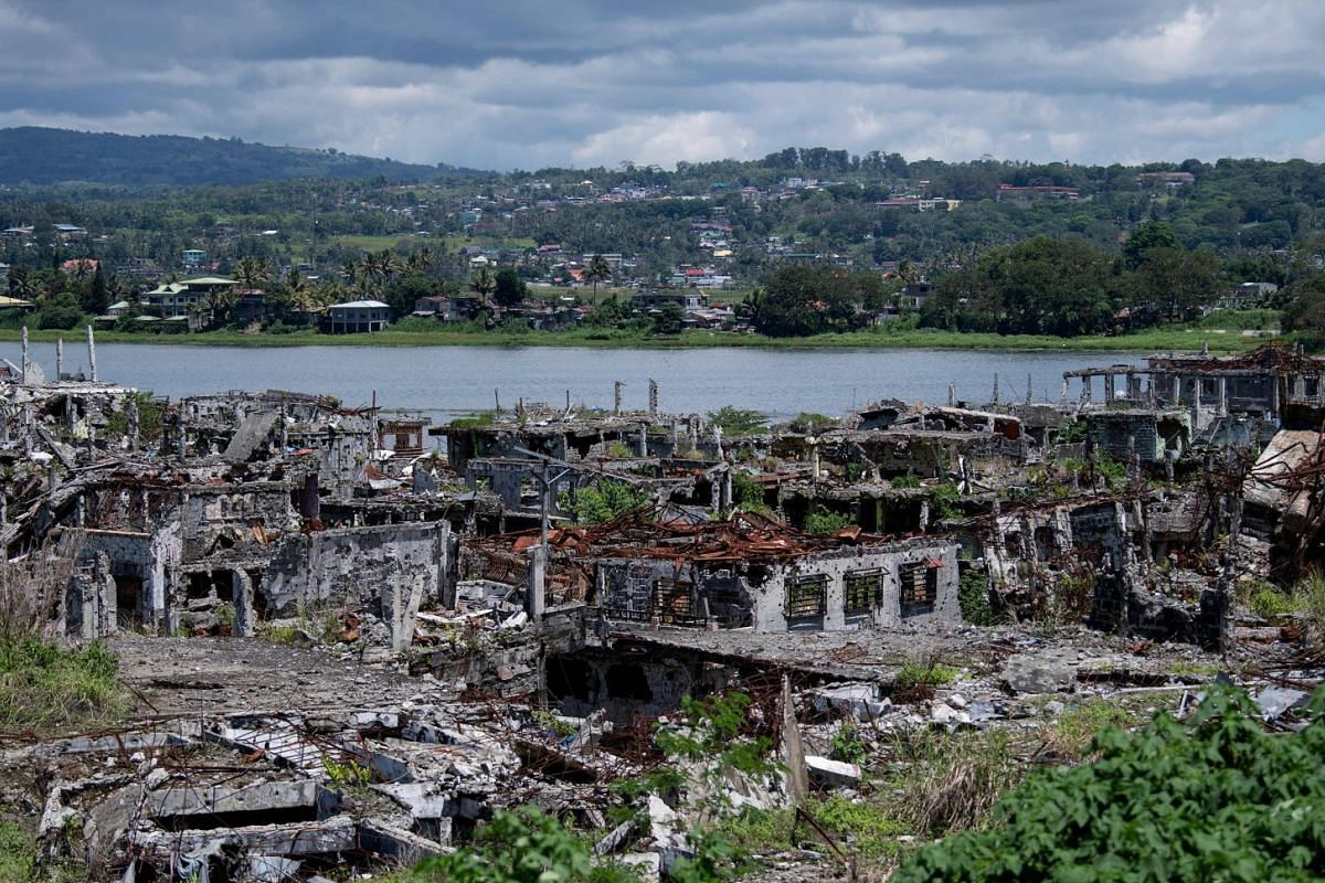 Damaged buildings in Marawi on the southern island of Mindanao on May 23, 2019.