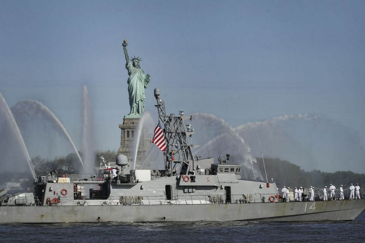 The USS Tornado (PC 14) sails past the Statue of Liberty during the Fleet Week Parade of Ships in New York Harbor, May 22, 2019 in New York City. PHOTO: GETTY IMAGES/AFP