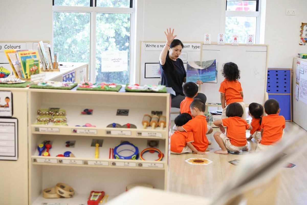 Children in the learning area at NTUC First Campus My First Skool's 1,065-capacity Early Years Centre in Punggol, on May 23, 2019.