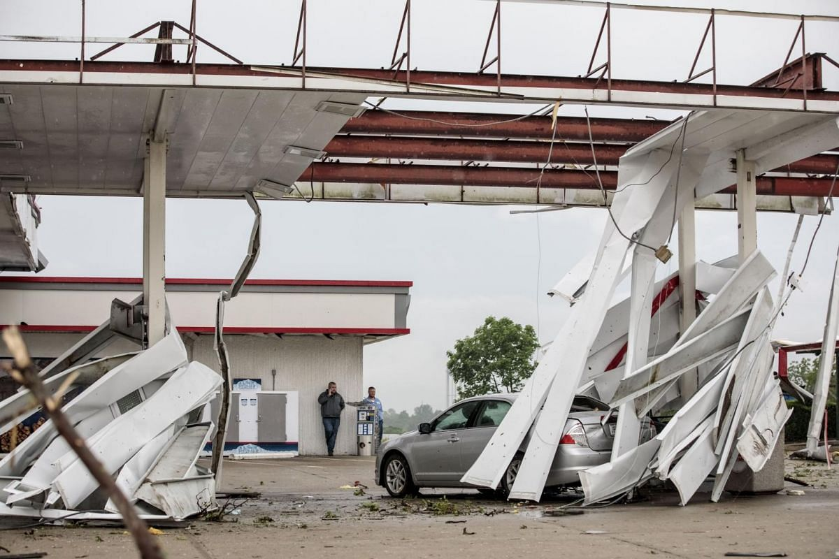 A gas station in Jefferson City, Missouri, on May 23, 2019, is damaged after a tornado hit the night before.