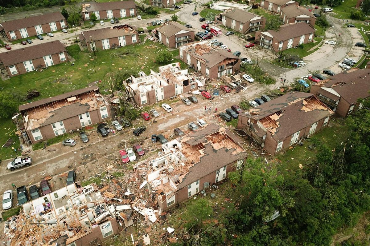 Destroyed homes are seen in this aerial photo after a tornado touched down overnight in Jefferson City, Missouri, on May 23, 2019.