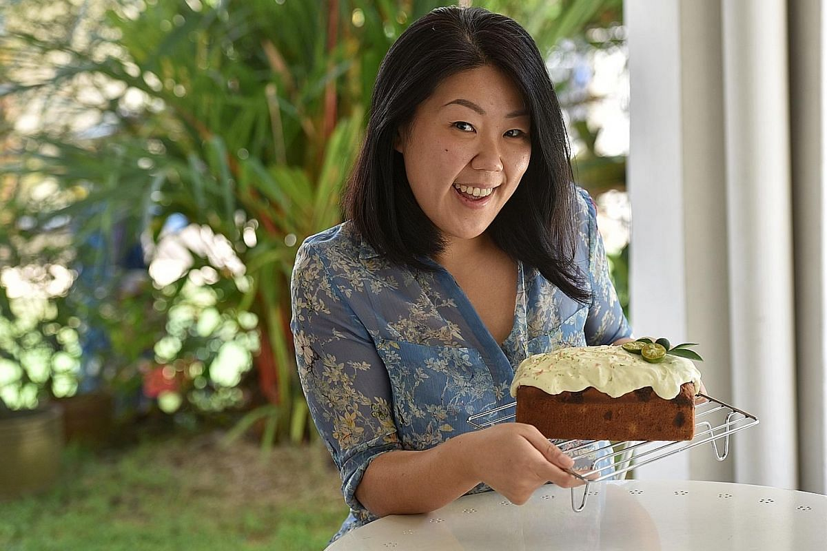 Ms Janet Lim uses fresh pineapple chunks instead of bananas for her Asian-style Hummingbird Cake with lime-cream cheese frosting.