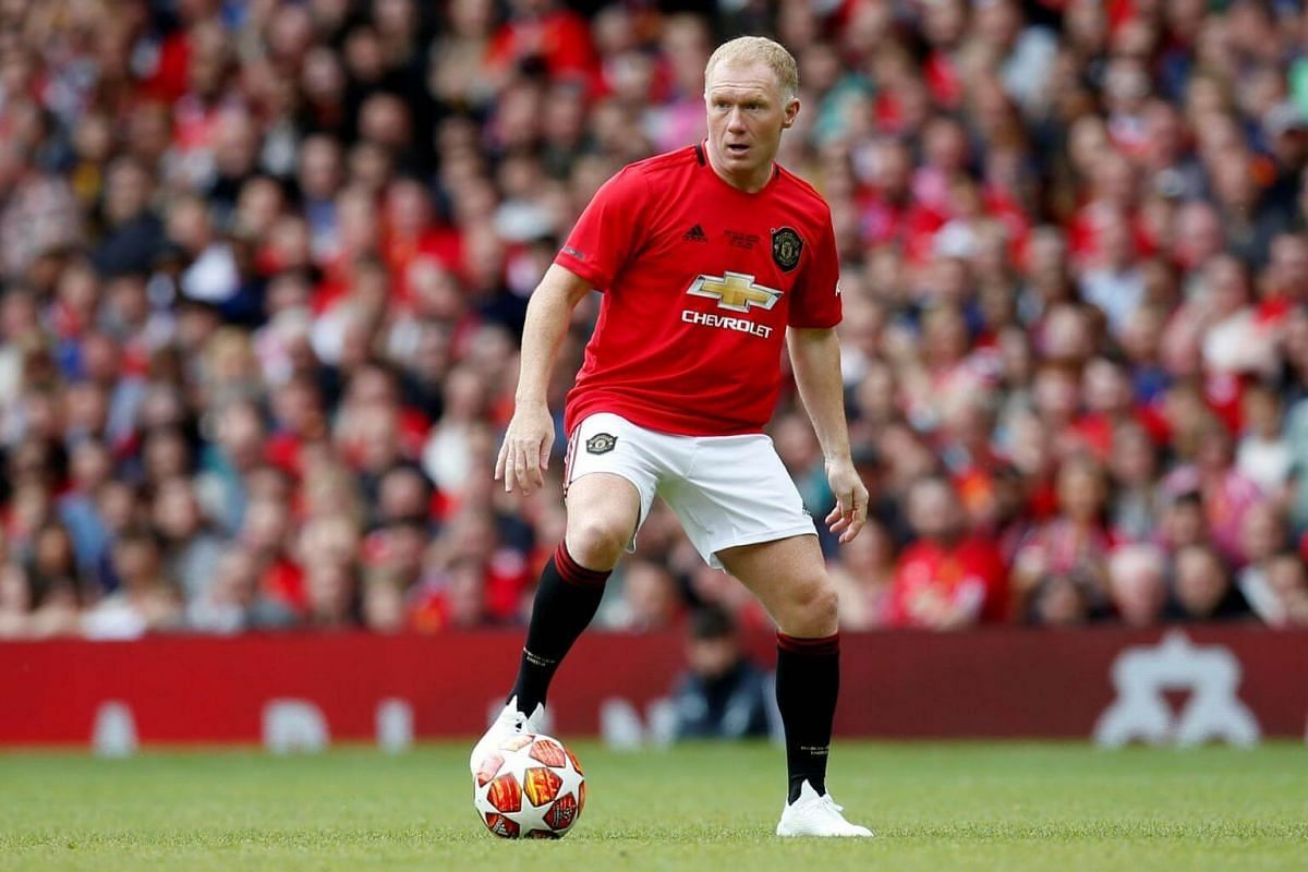 Manchester United '99 Legends' Paul Scholes in action during the Treble Reunion 20th anniversary football match at Old Trafford, on May 26, 2019.