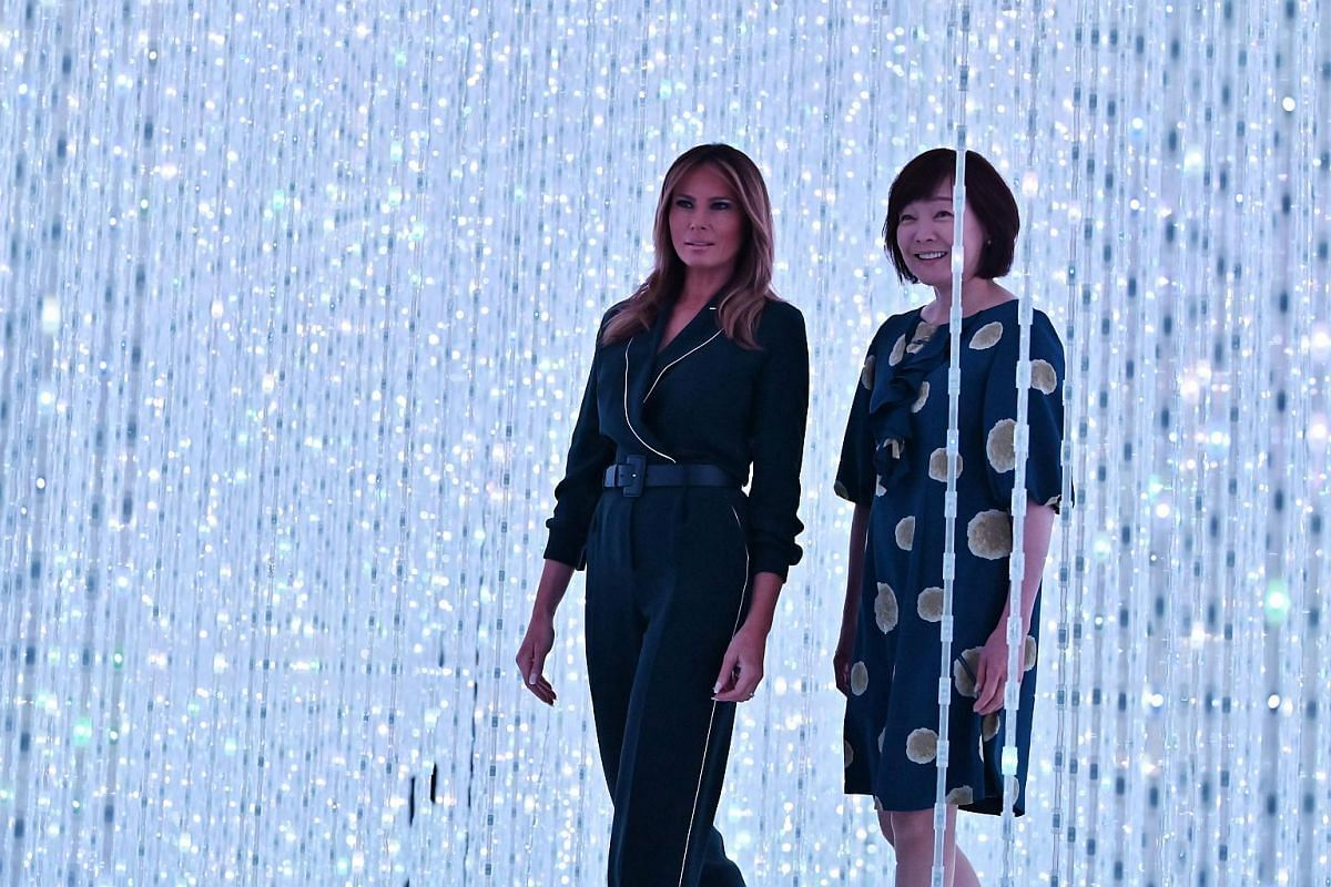 US first lady Melania Trump visits the Mori Building Digital Art Museum, accompanied by Japanese Prime Minister Shinzo Abe's wife, Akie Abe, in Tokyo on May 26, 2019.