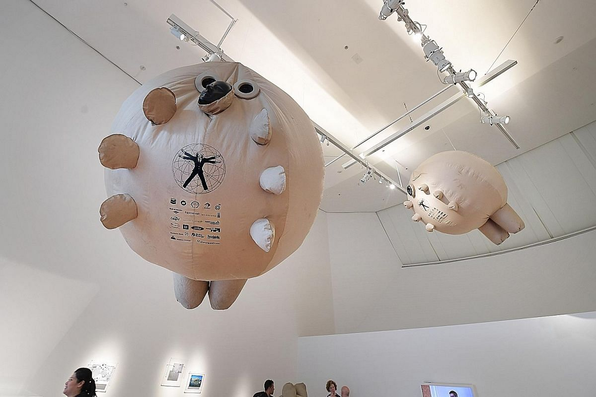 SurvivaBall by The Yes Men, one of the inflatable artworks at the exhibition.