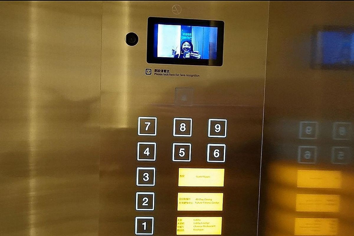 2 Scan your face (above) in the lift to gain access to your room level.