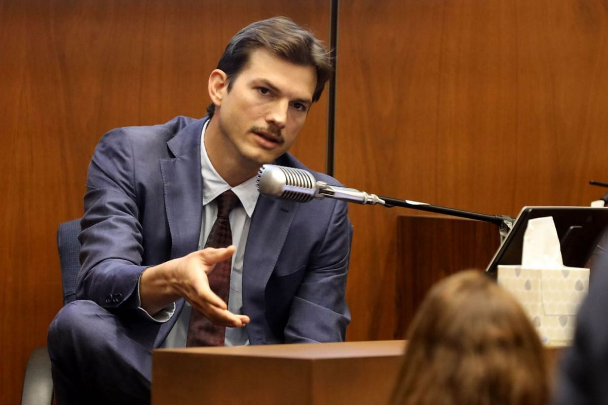 Ashton Kutcher testifies during the trial of alleged serial killer Michael Gargiulo, known as the Hollywood Ripper, at the Clara Shortridge Foltz Criminal Justice Center on May 29, 2019 in Los Angeles, California. Gargiulo is facing murder charges, i