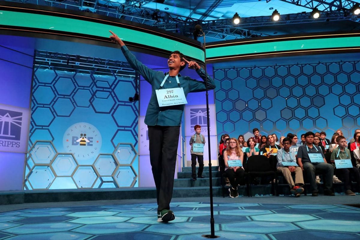 Albin Mullan, 13, celebrates after spelling his word correctly while competing in the preliminaries of the 92nd annual Scripps National Spelling Bee in National Harbor, Maryland, U.S., May 29, 2019. PHOTO: REUTERS