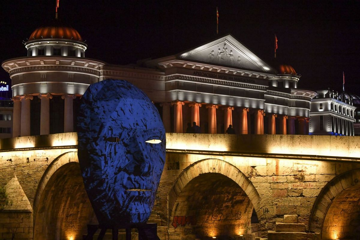 An installation of Skopje Light Art District next to the old stone bridge in Skopje, North Macedonia, 29 May 2019. PHOTO: EPA-EFE