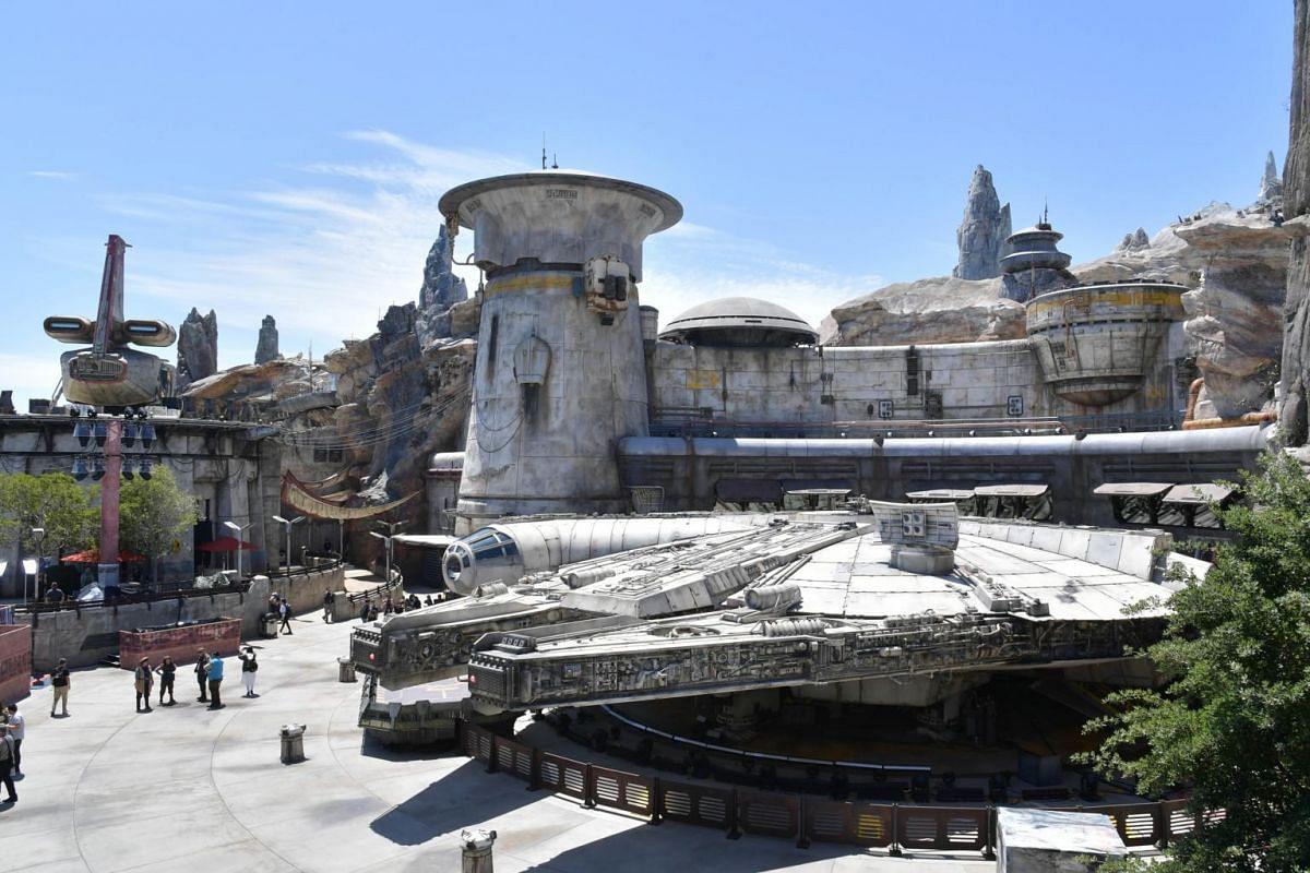 The Millennium Falcon at Star Wars: Galaxy's Edge at The Disneyland Resort in Anaheim, California.