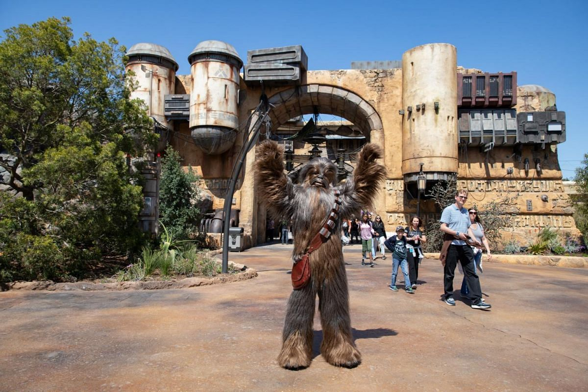 Chewbacca greets visitors at the new Star Wars: Galaxy's Edge expansion at Disneyland Park in Anaheim, California.