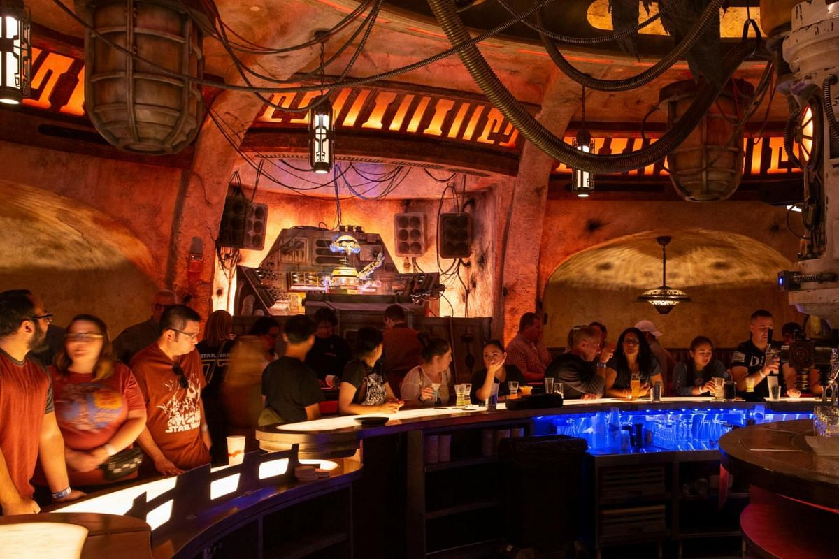 Oga's Cantina bar, where alcohol is served, at the new Star Wars: Galaxy's Edge expansion at Disneyland Park in Anaheim, California.