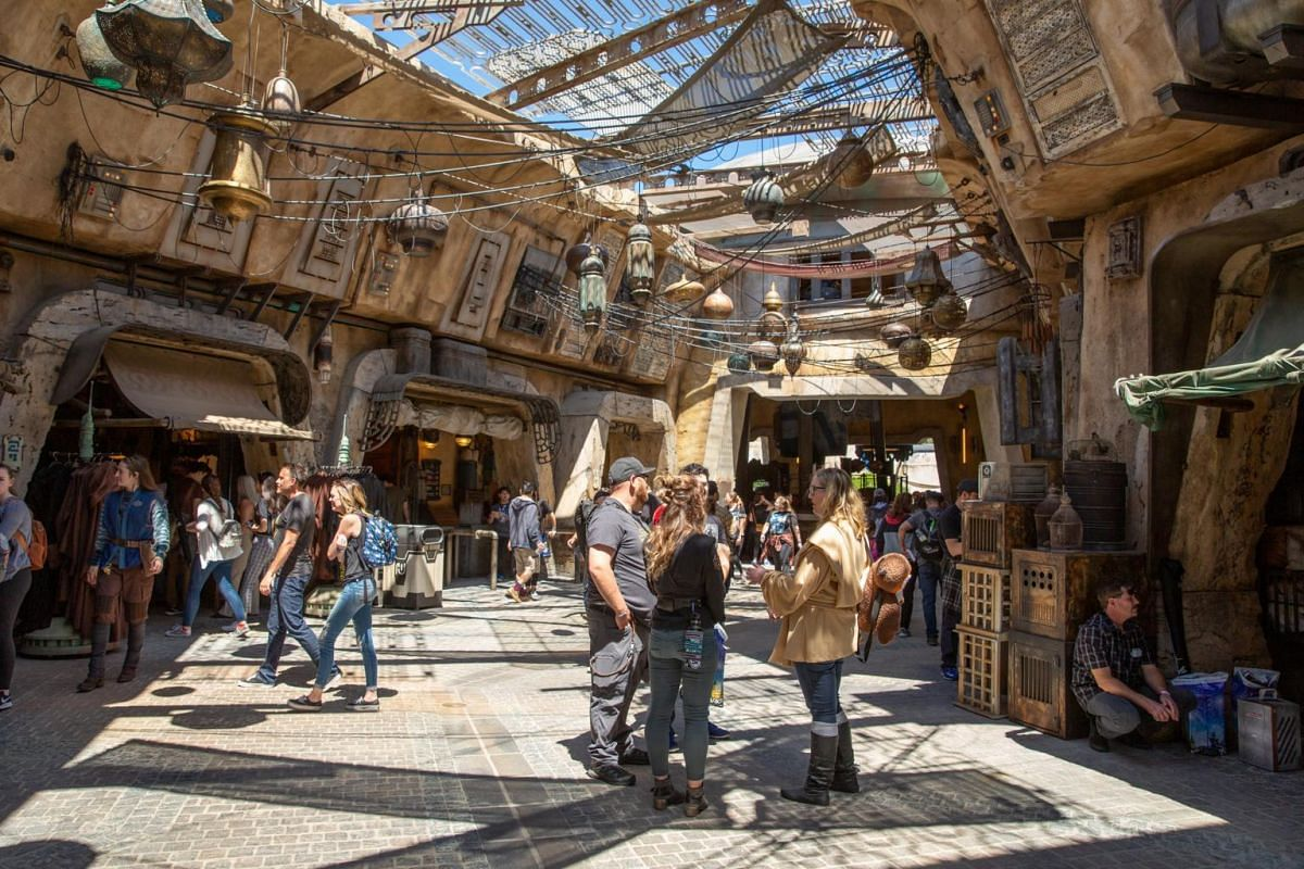 A shopping bazaar at the new Star Wars: Galaxy's Edge expansion at Disneyland Park in Anaheim, California.