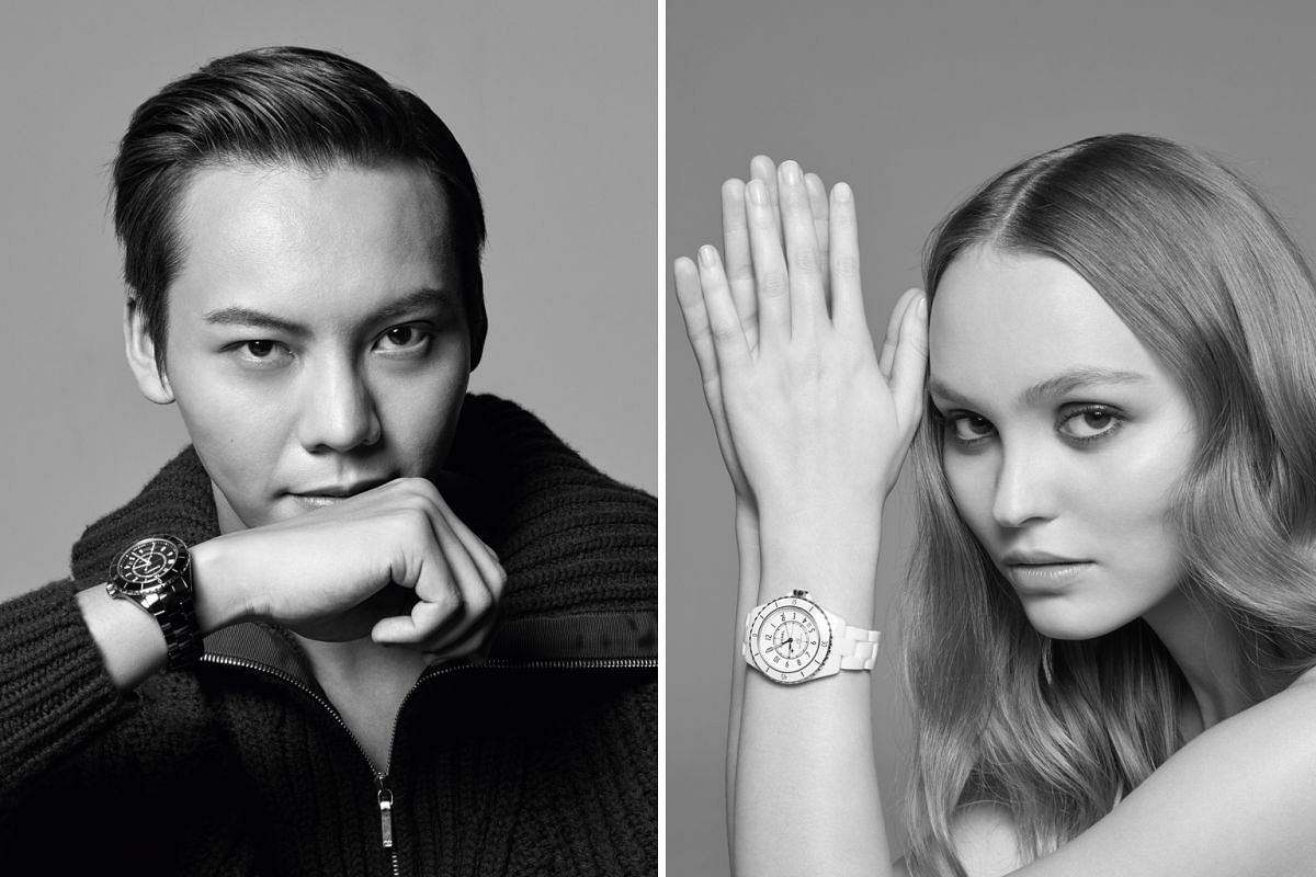 Chanel's J12 advertising campaign includes William Chan (left), Lily Rose-Depp (Right), Naomi Campbell, Claudia Schiffer, Ali MacGraw and Liu Wen.