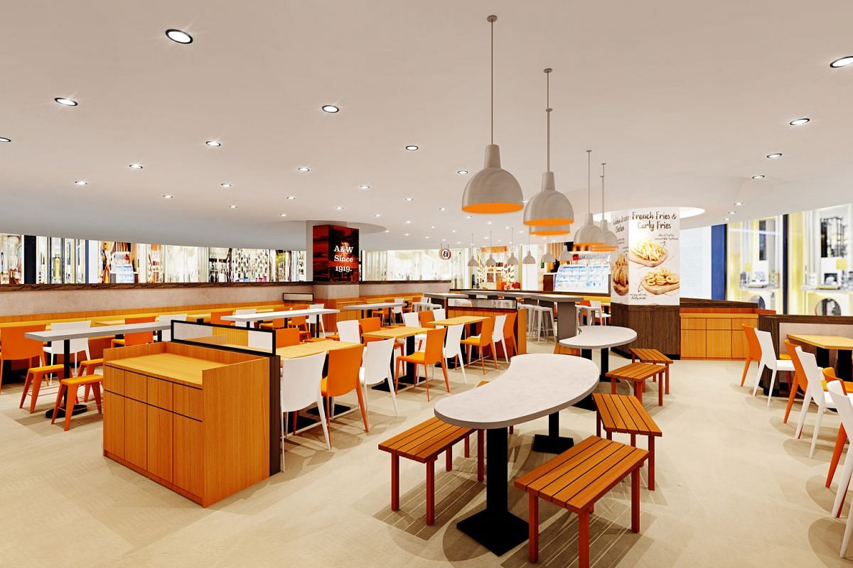 An artist's impression of the restaurant at AMK Hub, which will feature more flexible seating arrangements to cater to large groups.