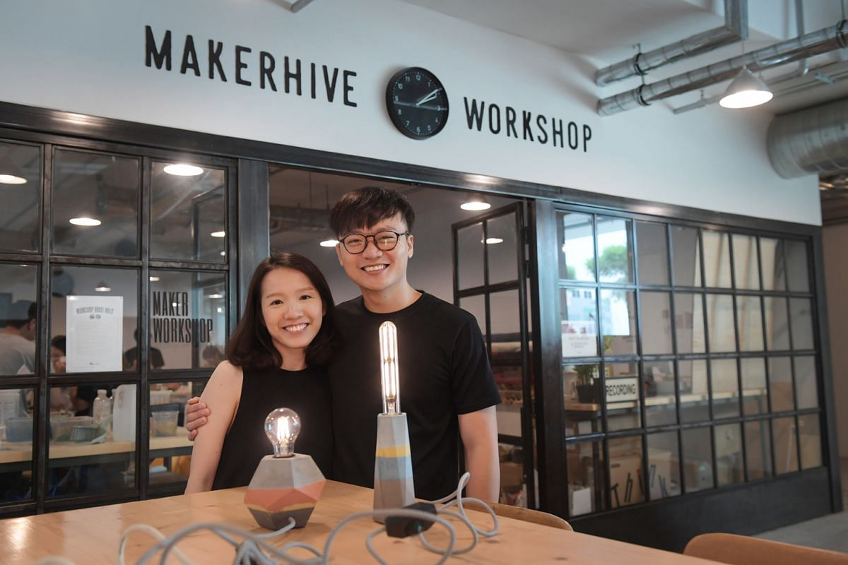 Newly-weds Andrew Ong, 31, and Dawne Zhuang, 30, with the lamps they made at Concrete Everything. The couple attended the workshop to celebrate their fifth month of marriage and would be displaying the lamps in their new home.