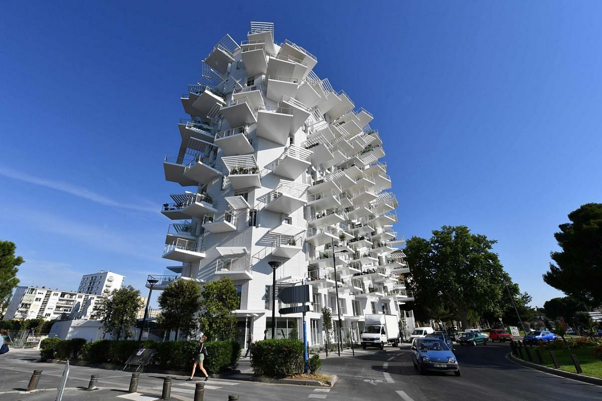 """A building """"L'arbre blanc"""" (White Tree) designed by Japanese architect Sou Fujimoto, French Nicolas Laisne and Manal Rachdi, in Montpellier, southern France, on June 3, 2019."""