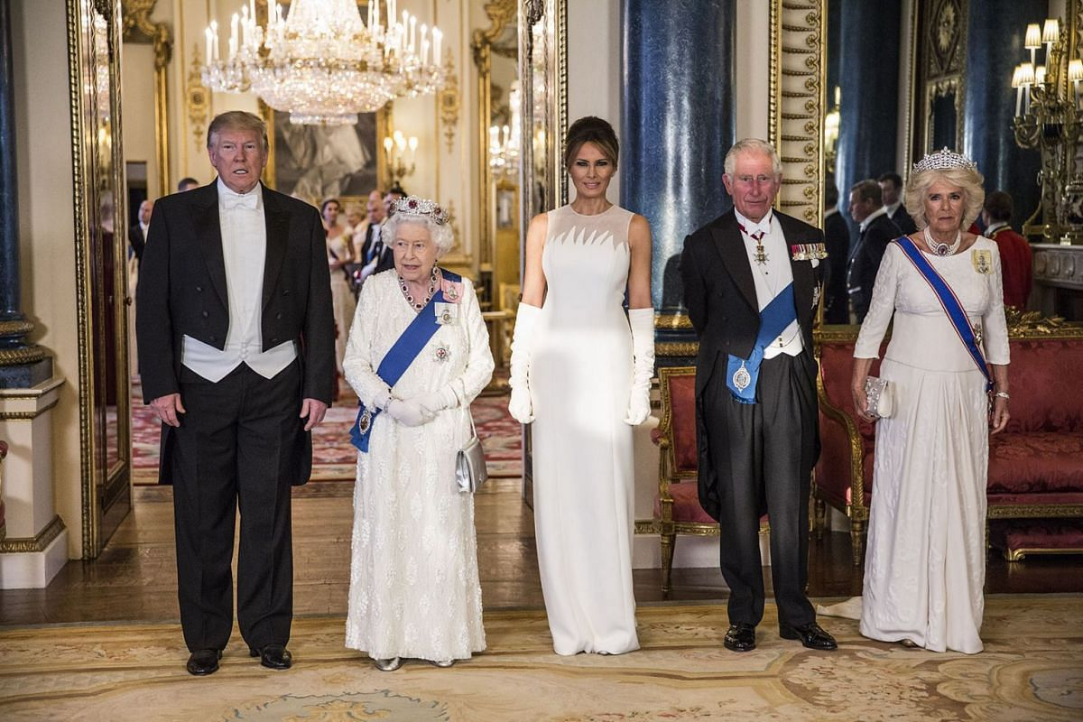 (left to right) US President Donald Trump, Queen Elizabeth II, Melania Trump, Charles, The Prince of Wales, and his wife Camilla, pose for a group photo ahead of the State Banquet at Buckingham Palace, London, England, on June 3, 2019.