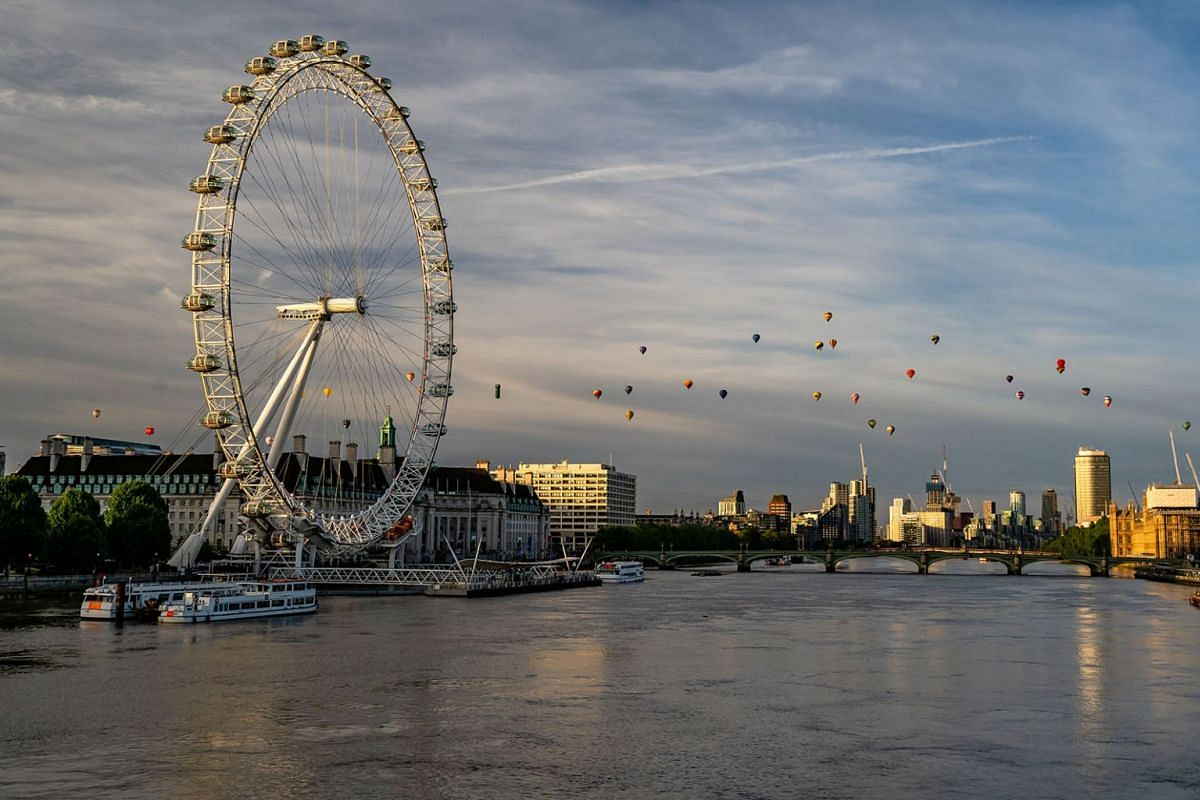 Hot air balloons fly over London as a part of the Lord Mayor's Hot Air Balloon Regatta, London, Britain June 9, 2019.