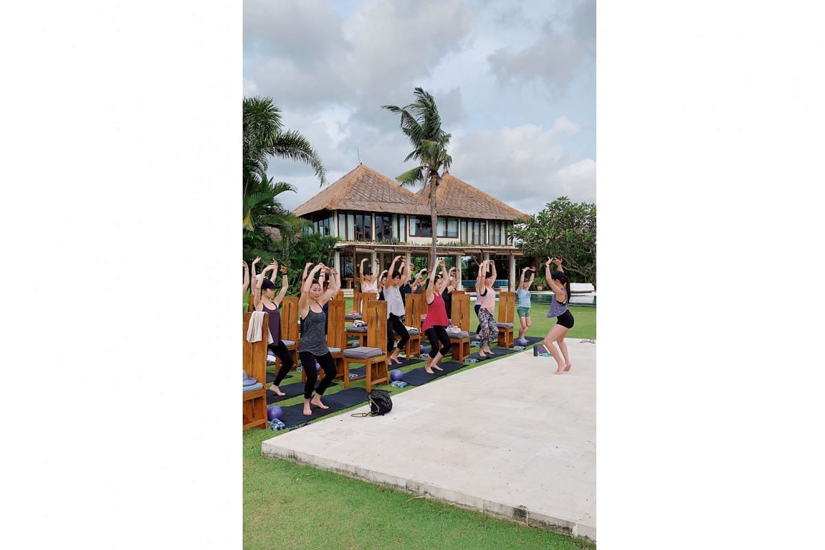 A barre class during a sold-out retreat at Villa Shalimar Estate in Bali in April.