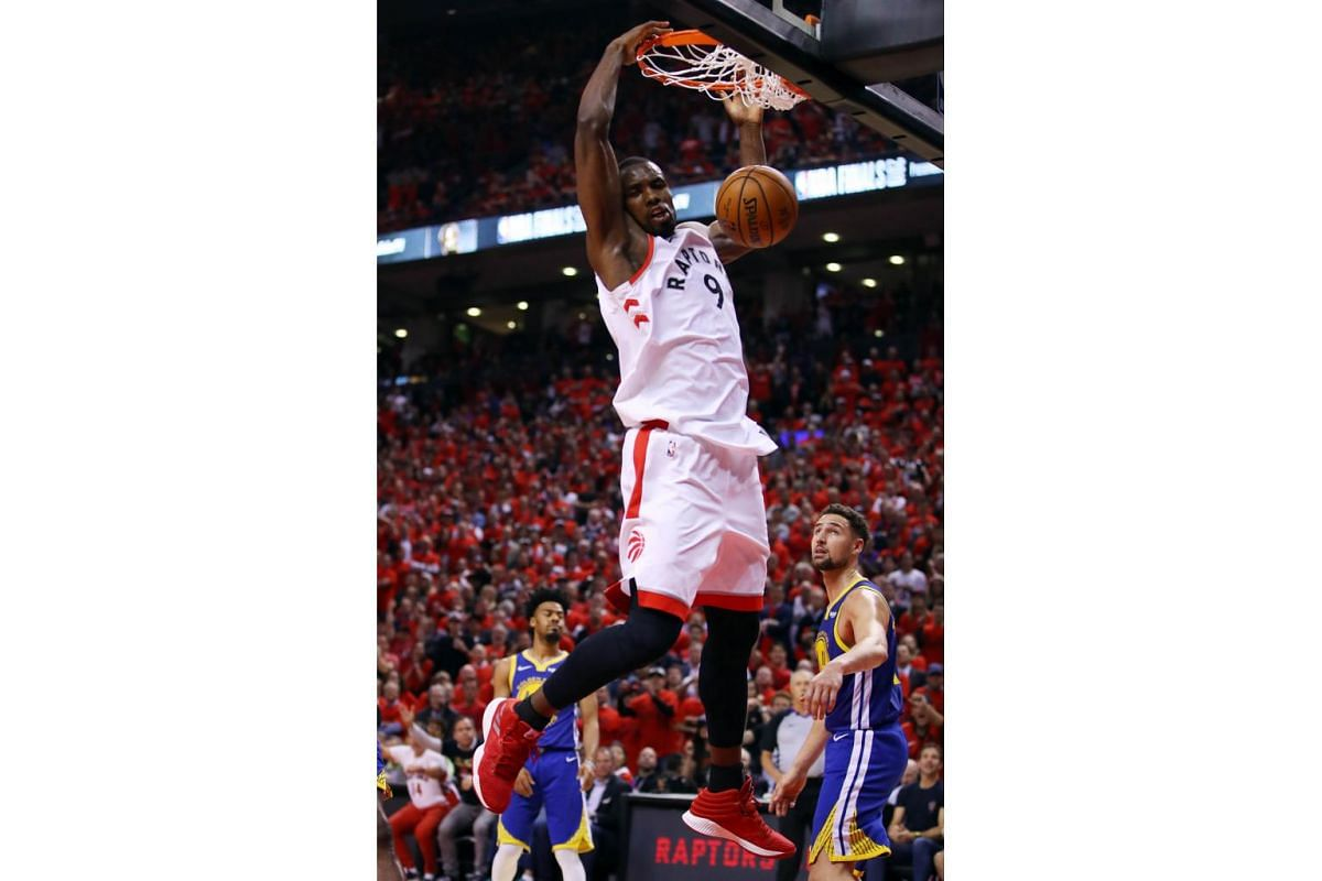Serge Ibaka of the Toronto Raptors dunks the ball against the Golden State Warriors in the second half during Game 5 of the 2019 NBA Finals at Scotiabank Arena in Toronto, Canada on June 10, 2019.