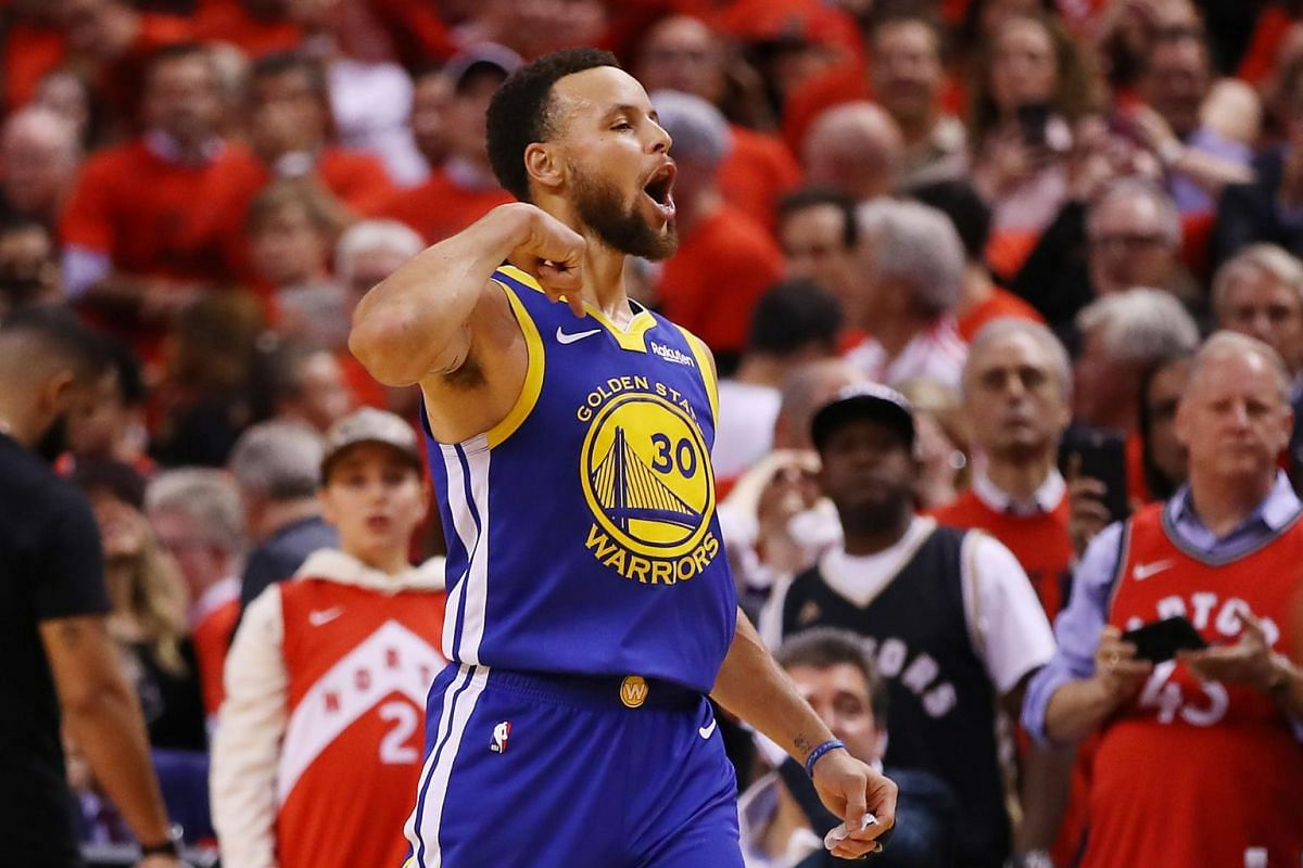 Stephen Curry #30 of the Golden State Warriors reacts against the Toronto Raptors in the second half during Game 5 of the NBA Finals at Scotiabank Arena in Toronto, Canada on June 10, 2019.
