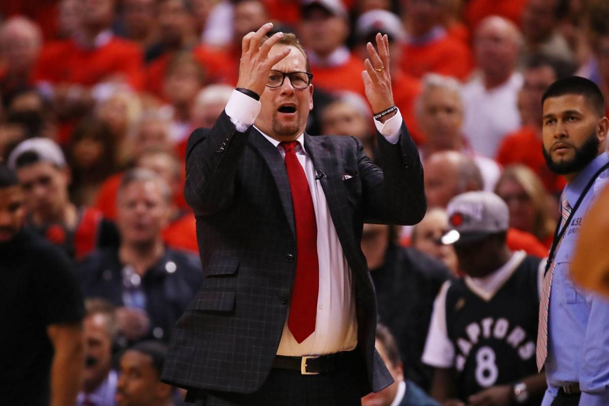 Head coach Nick Nurse of the Toronto Raptors reacts in the fourth quarter against the Golden State Warriors during Game 5 of the NBA Finals at Scotiabank Arena in Toronto, Canada on June 10, 2019.