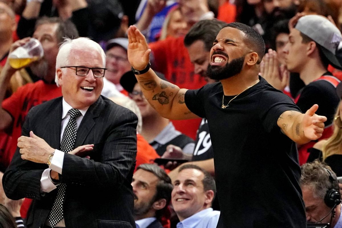 Recording artist Drake reacts during the fourth quarter in Game 5 of the NBA Finals between the Golden State Warriors and the Toronto Raptors at Scotiabank Arena in Toronto, Canada on June 10, 2019.