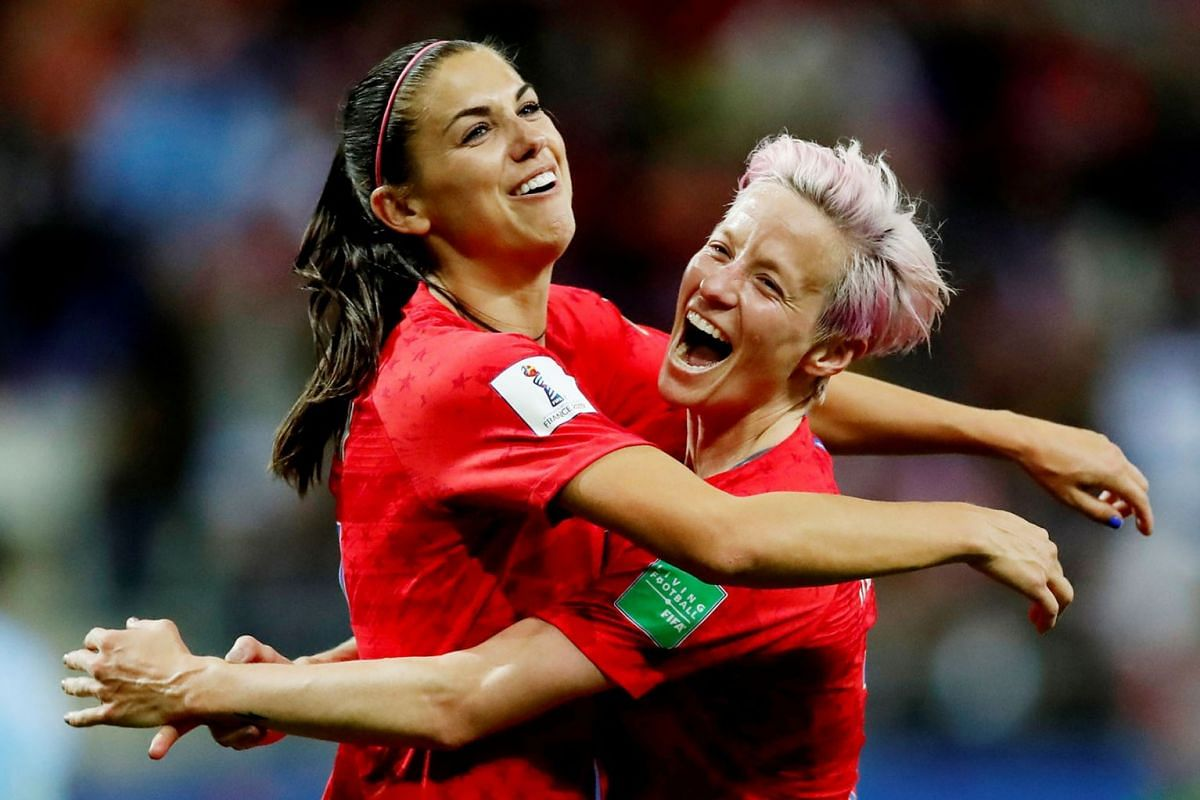Alex Morgan of the U.S. celebrates scoring their twelfth goal with Megan Rapinoe at the Women's World Cup, Group F soccer match between United States and Thailand at Stade Auguste-Delaune, in Reims, France on June 11, 2019