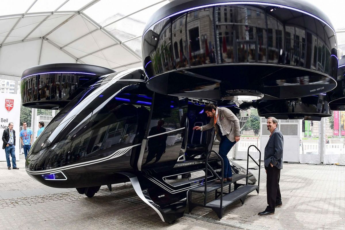 The Bell Nexus concept vehicle is shown at the Uber Elevate Summit June 12, 2019 in Washington, DC, one of the vertical takeoff and landing (VTOL) vehicles or flying cars that will be part of Uber's fleet for aerial ride sharing. - Uber on June 11 se