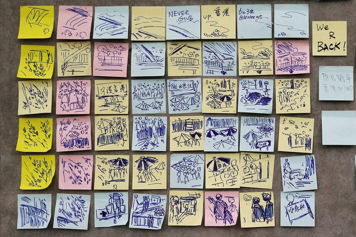 Notes against the proposed extradition bill are seen near the Legislative Council building in Hong Kong, China June 13, 2019. PHOTO: REUTERS