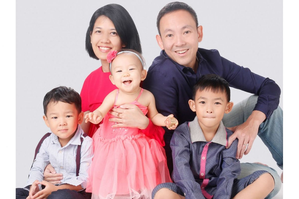 Centre For Fathering chief executive Bryan Tan with his wife Adriana and children (from left) Joshua, Deborah and Michael.