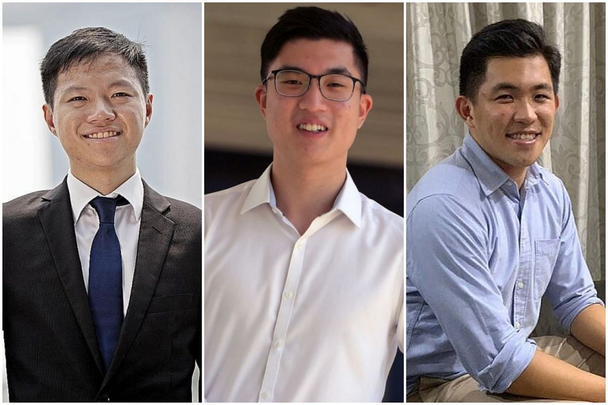(From left) Singapore Management University's Chng Jia Zhi, National University of Singapore's Sean Jou and Nanyang Technological University's Chua Bo Yu, whose teams came in first, second and third respectively in the SGX-NUS Stock Pitch Competition
