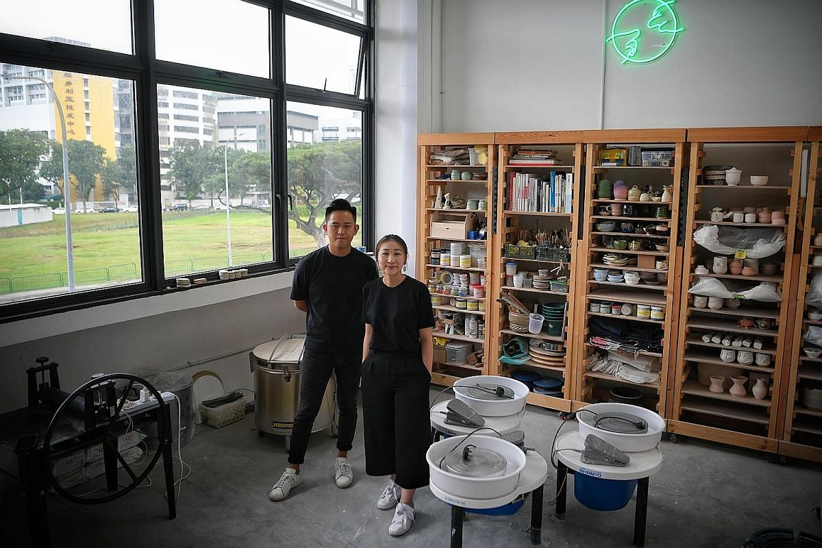 Mr Zestro Leow and Ms Fyon Cheong of Common Touch Craft Unit at their studio at 44 Kallang Place that can fit up to 12 people.