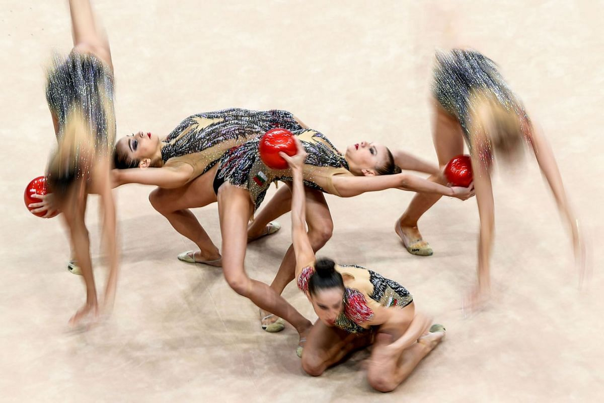 Bulgaria's team competes in the 5 balls event of the Rhythmic Gymnastics at the 2019 European Games in Minsk, Belarus, on June 23, 2019.