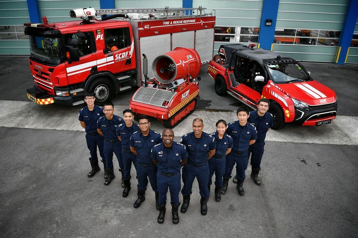 Among the firefighters who tackled last Friday's blaze at a Jalan Buroh liquefied petroleum gas facility were (from left) Corporal Thio Zheng Yang, Lance Corporal Muhammad Fazlan Rozali, Sergeant Ahmad Kafee Azman, Second Warrant Officer Syed Yazid