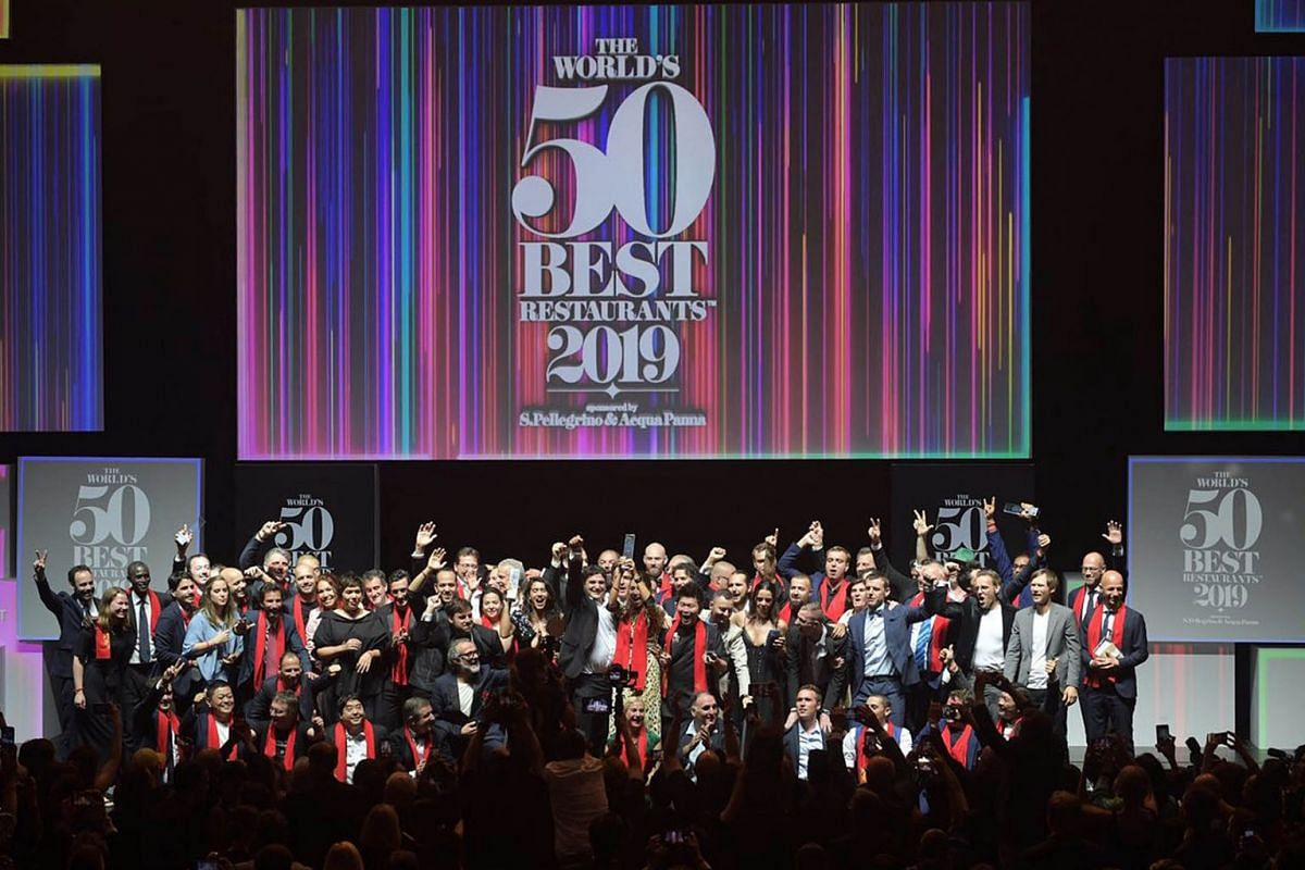 Chefs from The World's 50 Best Restaurants this year celebrating after the awards were announced at Marina Bay Sands on June 25, 2019. Mirazur, a fine-dining restaurant in Menton, France, helmed by Chef Mauro Colagreco, took the top spot, while Ode