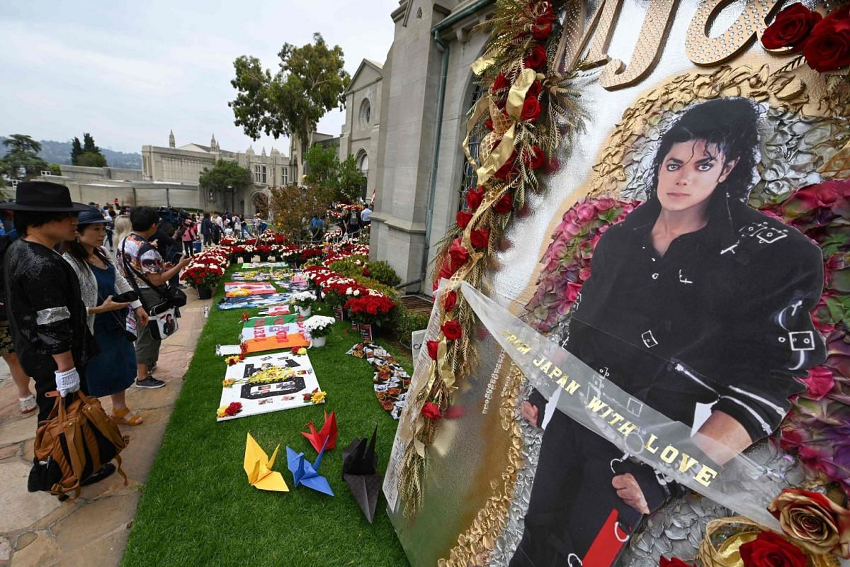 Fans visiting Michael Jackson's mausoleum at the Forest Lawn Cemetery in Glendale, California, on June 25, 2019.
