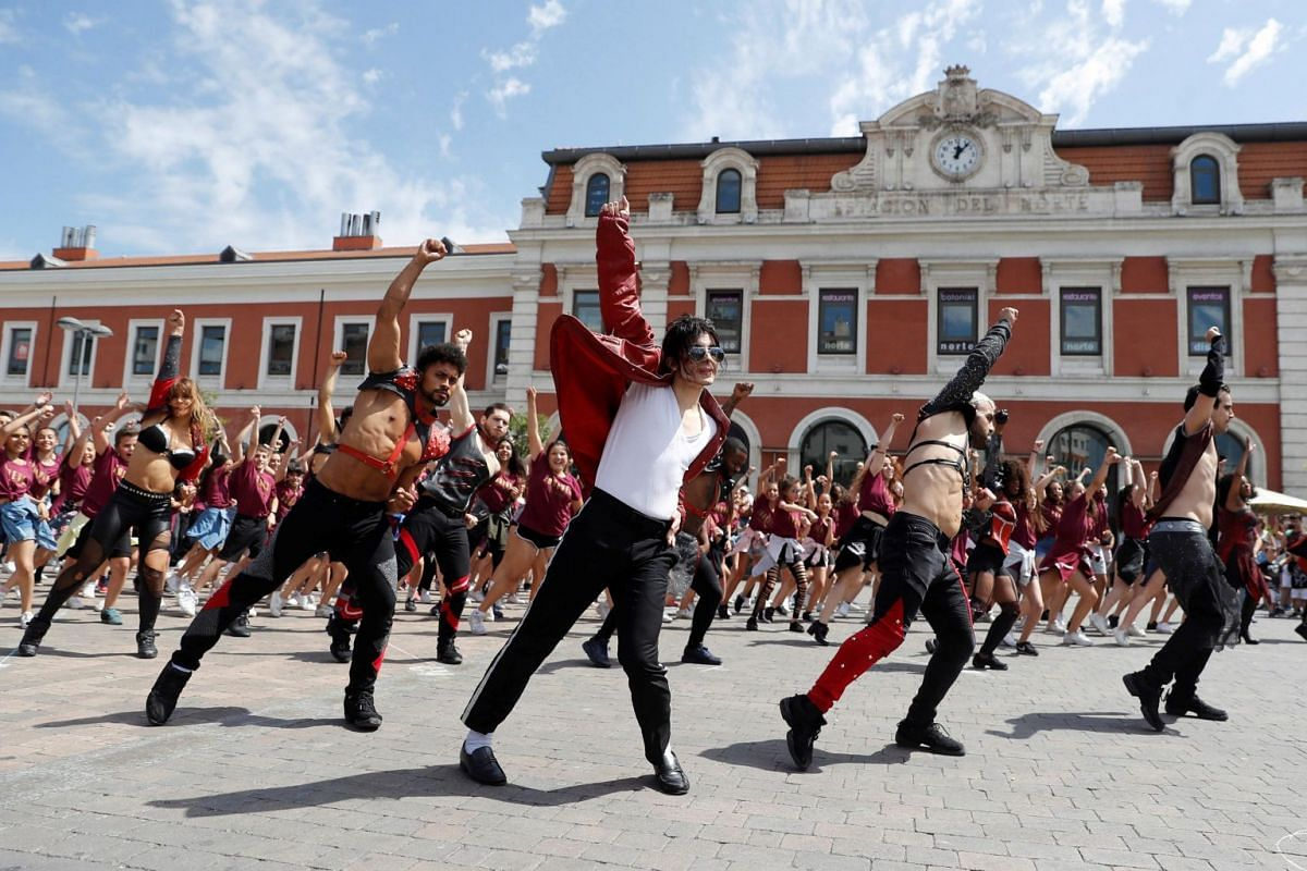 Dancers take part in a tribute event for Michael Jackson, in Madrid, Spain, on June 25, 2019.
