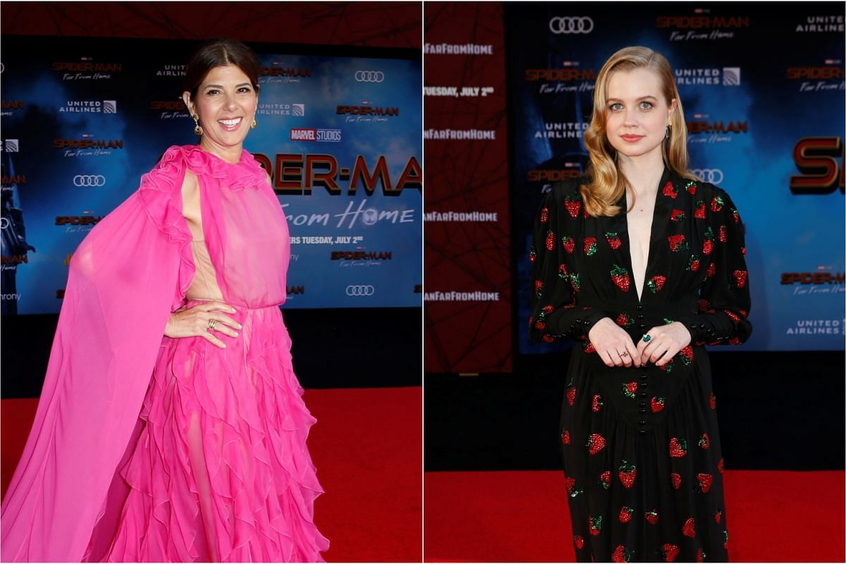 Actors Marisa Tomei (left) and Angourie Rice pose for photos at the world premiere of Marvel Studios Spider-Man: Far From Home, on June 26, 2019.