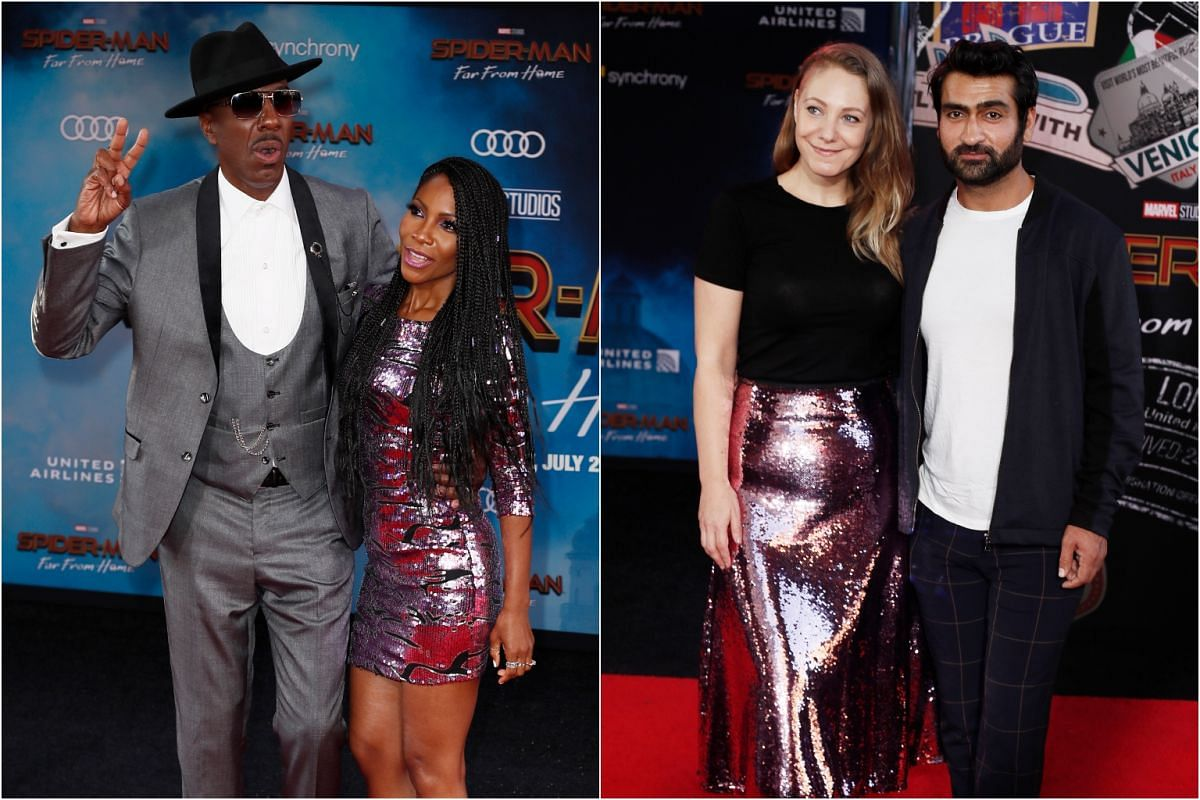 (From left) Actor J. B. Smoove, and actor Kumail Nanjiani and his wife Emily V. Gordon on the red carpet prior to the premiere of Spider-Man: Far From Home at the TLC Chinese Theatre, on June 26, 2019.
