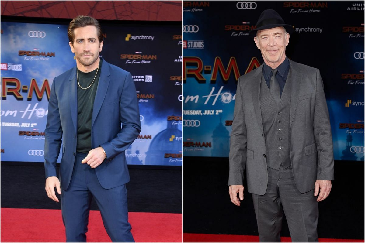 Actor Jake Gyllenhaal (left) and J. K. Simmons pose for photos on the red carpet to the premiere of Spider-Man: Far From Home at the TLC Chinese Theatre, on June 26, 2019.