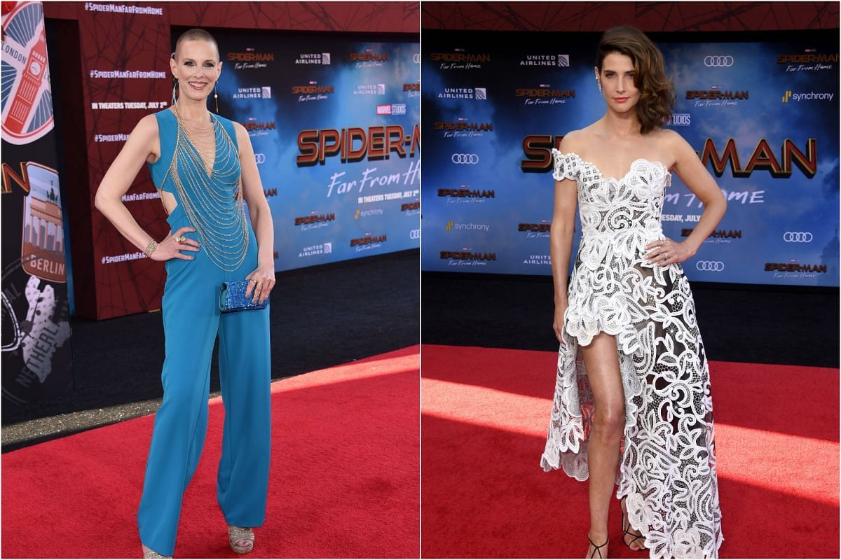 Actresses Sharon Blynn (left) and Cobie Smulders arrive for the Spider-Man: Far From Home World premiere at the TCL Chinese Theatre, on June 26, 2019.