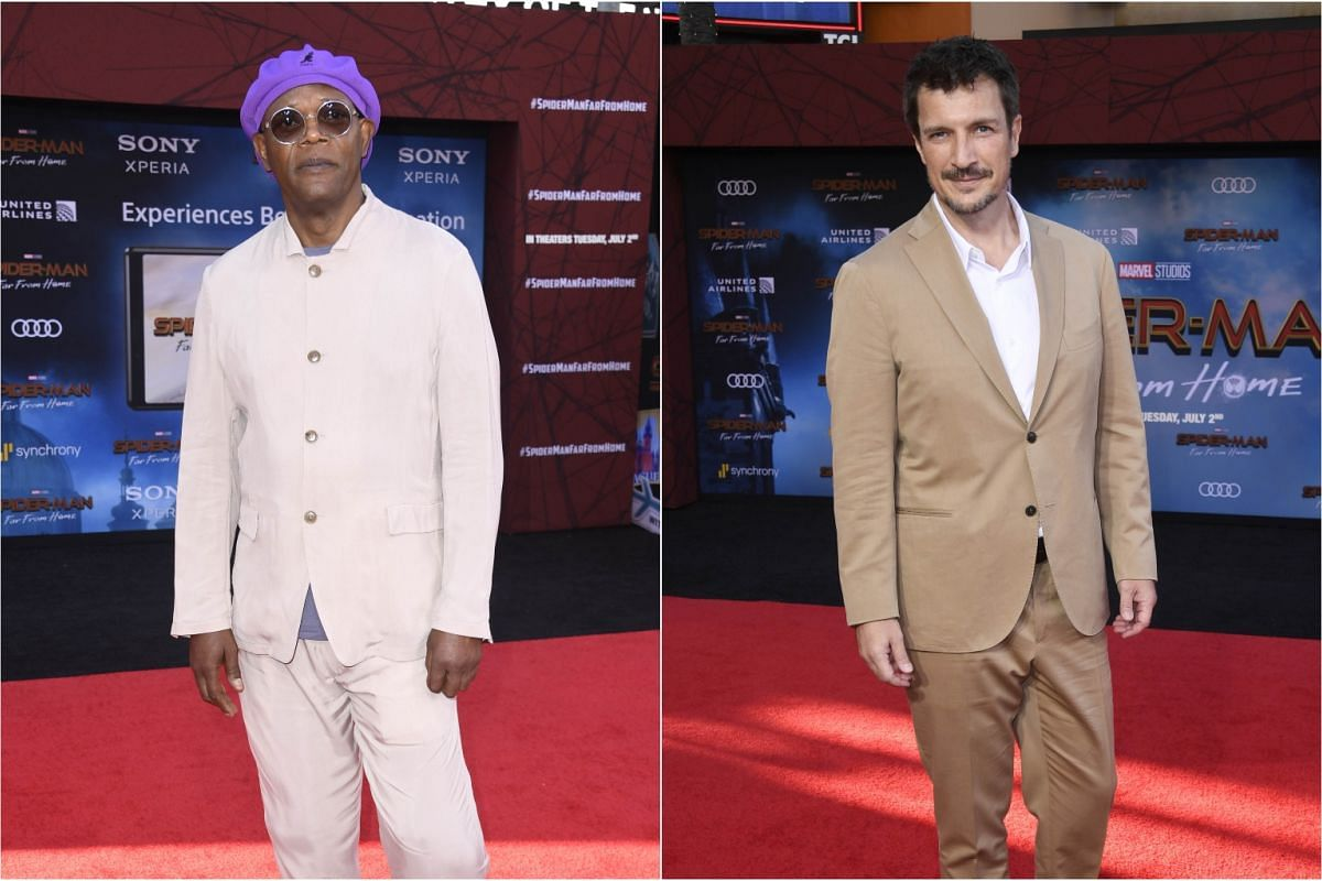 Samuel L. Jackson (left) and Nathan Fillion attend the premiere of Spider-Man: Far From Home in TCL Chinese Theatre on June 26, 2019.