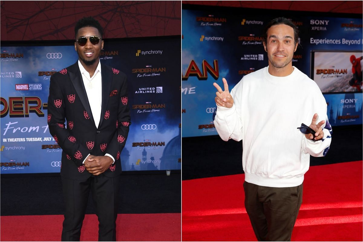 Donovan Mitchell (left) and musician Pete Wentz pose at the world premiere of Marvel Studios Spider-Man: Far From Home, on June 26, 2019.