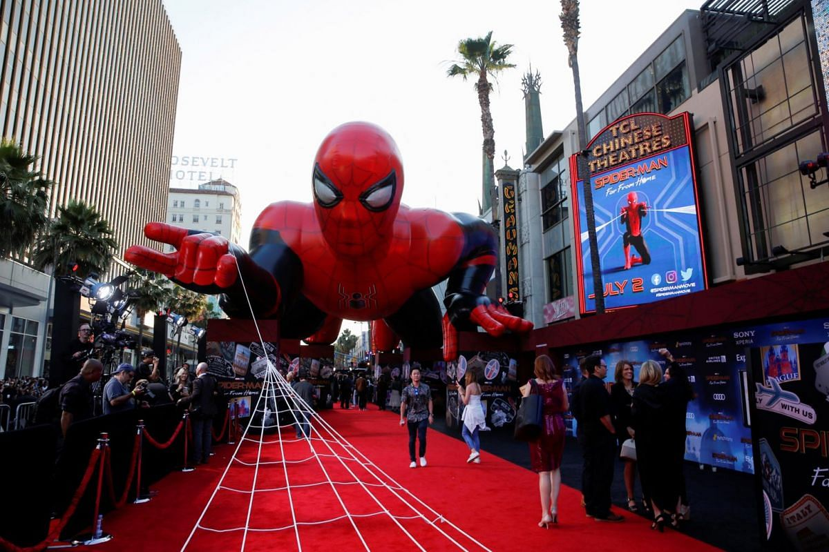 A giant Spider-Man balloon is seen above the red carpet along a closed Hollywood Boulevard outside the TCL Chinese Theatre for the movie's world premiere in Los Angeles, California, on June 26, 2019.